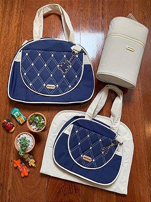 Kit Bolsa Maternidade Diamond Azul Marinho