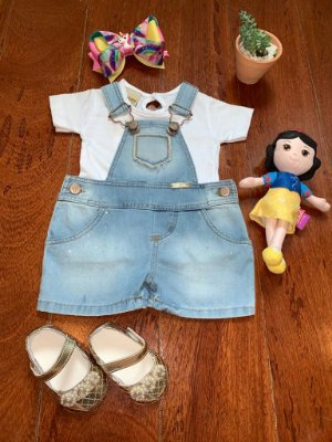 Jardineira Summer Jeans e Branca 2Pçs