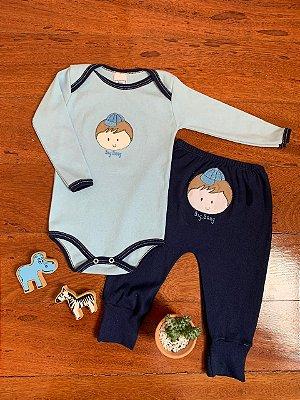 Conjunto Body e Calça Menino Azul Marinho