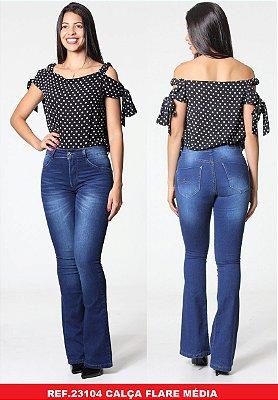 Calça jeans feminina flare cintura média ( Frete Grátis para o Estado de SP )