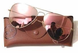 Óculos Ray ban Aviador Rosa Espelhado Replica Primeira Linha