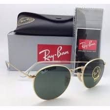 Óculos Ray ban Round Preto e Dourado