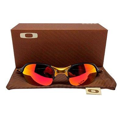 Oculos Oakley Romeo 2 - Black 24k Lente Polarizada Vermelha