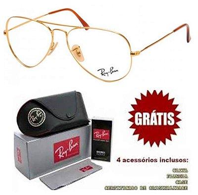 Armação Para Óculos De Grau Ray-ban Aviador Dourado Unissex