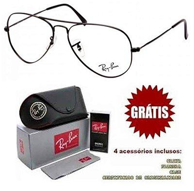 Armação Para Óculos De Grau Ray-ban Aviador Preto Unissex