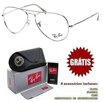 Armação Para Óculos De Grau Ray-ban Aviador Prata Unissex