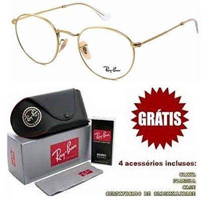 Armação Para Óculos de Grau Ray-ban Modelo Round Dourado