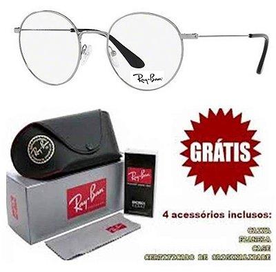 Armação Para Óculos de Grau Ray-ban Modelo Round Prata