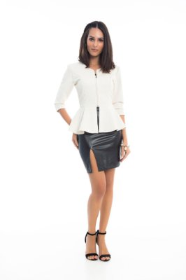 Blusa Kedy Closed Garden com Peplum Off White