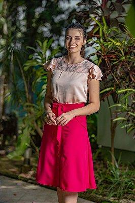 Vestido Kedy Closed Garden Evasê Rosa