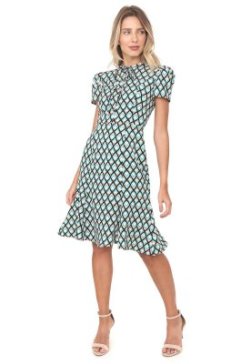 Vestido Pequena Sereia  Geométrico Verde