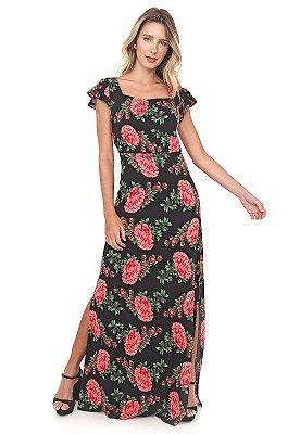 Vestido Alessandra Longo Floral Vermelho