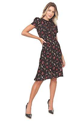 Vestido Grace Kelly Sereia Floral Preto