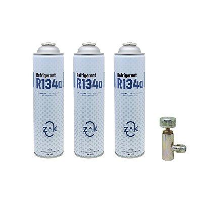 Gás R134a Refrigerant ZAK lata 600g - KIT 3 latas e Registro