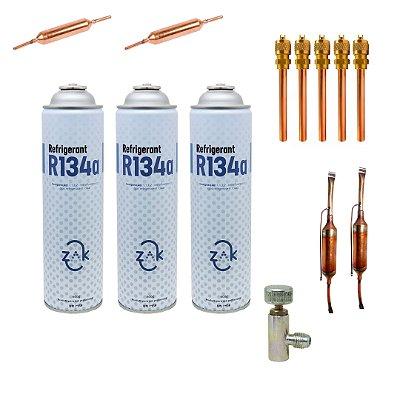KIT Reparo Refrigeração Básico - Gás 134a c/Registro Vávulas e Filtros