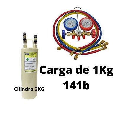 Cilindro Transporte e Flushing 141b 2KG com Manifold R22 completo e carga de 1KG gás
