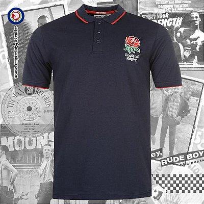 Polo Oficial England Rugby - Azul Marinho