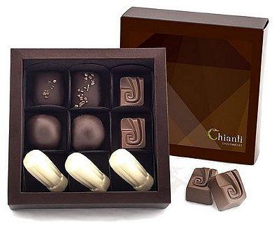Caixa com 9 chocolates belgas sortidos