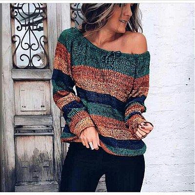 Blusa de trico colorida