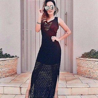 Vestido Longo de Tricot Luxo Preto