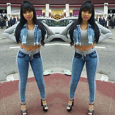 Calça jeans com moletom