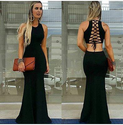 Vestido longo sereia preto trançado nas costas
