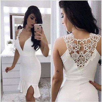 Vestido neoprene com renda branco