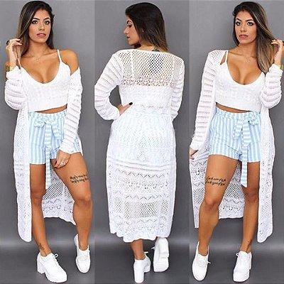 Conjunto Kimono e cropped Branco