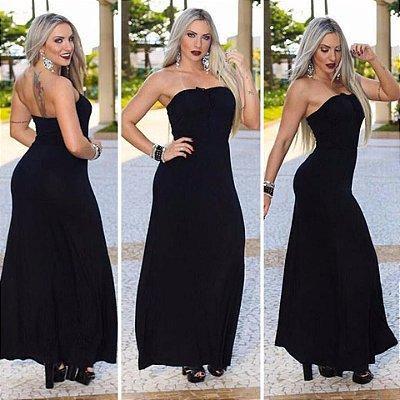 Vestido longo tomara que caia preto