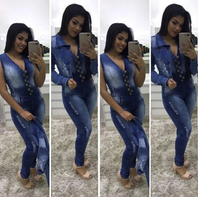 Macacão Jeans escuro com botões