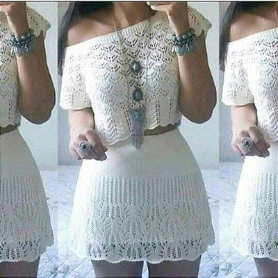 Conjunto Saia e Cropped trico off white