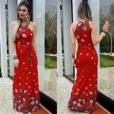 Vestido viscolycra estampado fundo vermelho