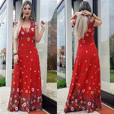 Vestido longo estampado decote tiras vermelho