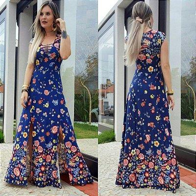 Vestido longo estampado decote tiras azul