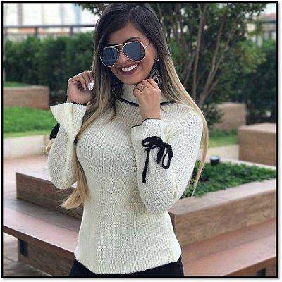 Blusa de trico de lacinho nas mangas off white