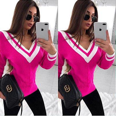 Blusa colegial trico pink