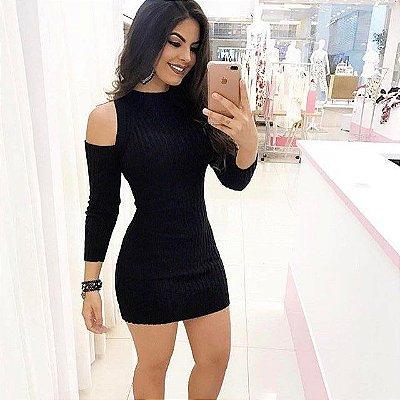 Vestido trico ombro vazado preto