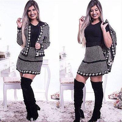 Conjunto de saia e blusa de trico modal
