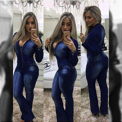 Macacão manga longa jeans escuro