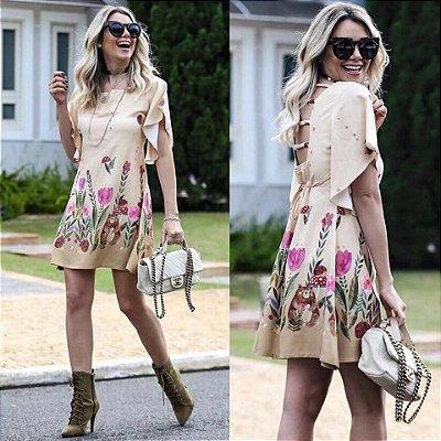 Vestido manga curta viscose estampado com flores