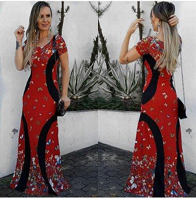 Vestido longo borboleta fundo vermelho