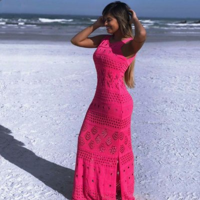 Vestido longo trico com abertura na lateral pink