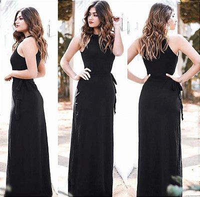 Vestido longo viscolycra gola preto