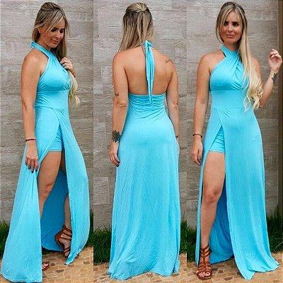 Vestido Top com Fenda Azul Claro
