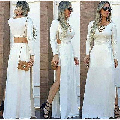 Vestido Longo Fenda Lateral