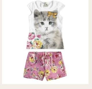 Conjunto short e camiseta gata