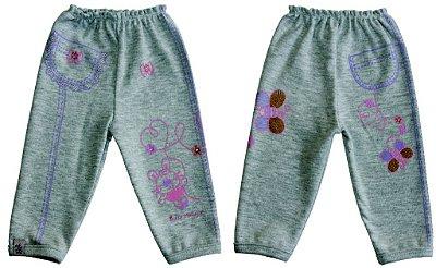 """Calça sem sola, desenhos """"coelhinha bicho molhado e corações"""" na perna e imitação de bolso (cores)"""