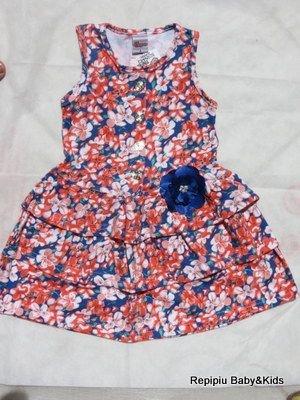 Vestido bebê em cotton estampado flores de primavera com detalhe em flor com strass