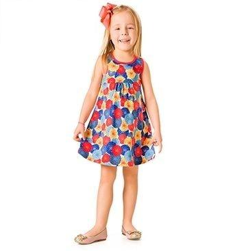 Vestido Kyly  infantil estampado bolas coloridas