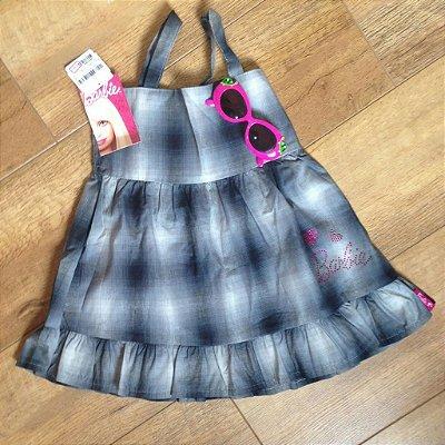 Vestido Malwee xadrez cinza barbie